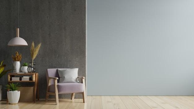 Salle Intérieure Avec Un Fauteuil Sur Un Mur Noir Vide, Rendu 3d Photo Premium
