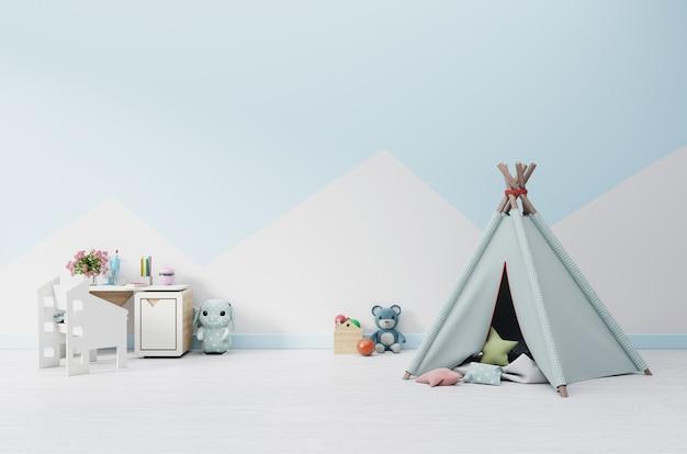 Salle de jeux pour enfants vides avec tente et table, poupée. Photo Premium