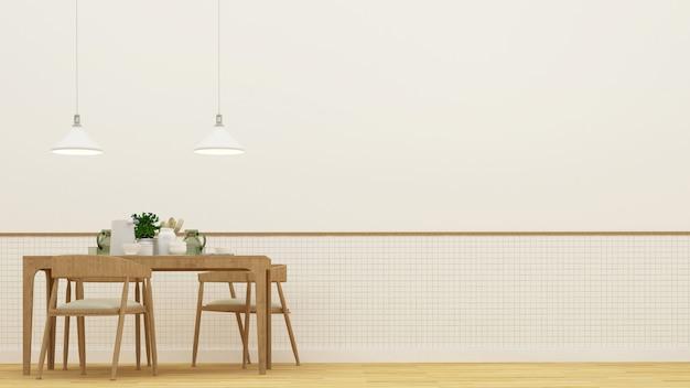 Salle à manger ou restaurant - rendu 3d Photo Premium