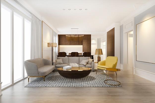 Salle A Manger Et Salon Moderne Jaune Avec Une Decoration De Luxe Photo Premium