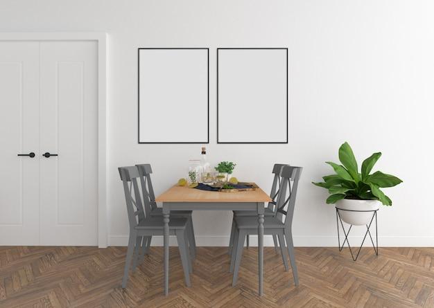 Salle à manger scandinave à double châssis Photo Premium