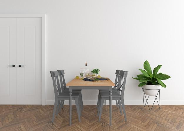 Salle à manger scandinave avec mur blanc Photo Premium