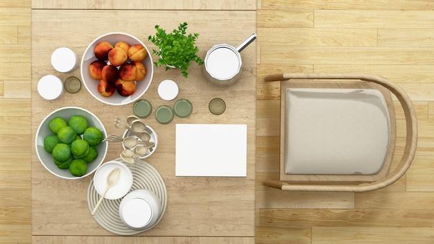 Salle à manger vue de dessus ou garde-manger minimaliste - rendu 3d Photo Premium
