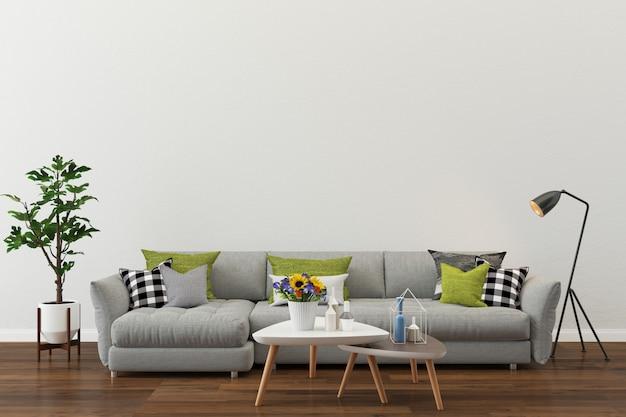 Salle moderne mur blanc texture fond plancher bois canapé gris Photo Premium