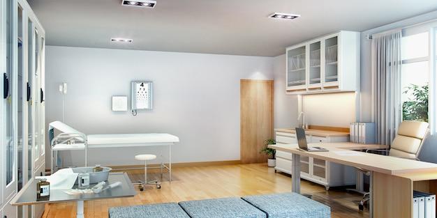 Salle de premiers soins rendu 3d près du bureau Photo Premium