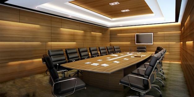 Salle de réunion d'affaires rendu 3d sur immeuble de bureaux de grande hauteur Photo Premium