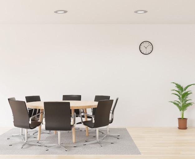 Salle de réunion en rendu 3d avec chaises, table ronde en bois, salle blanche, tapis et petit arbre Photo Premium