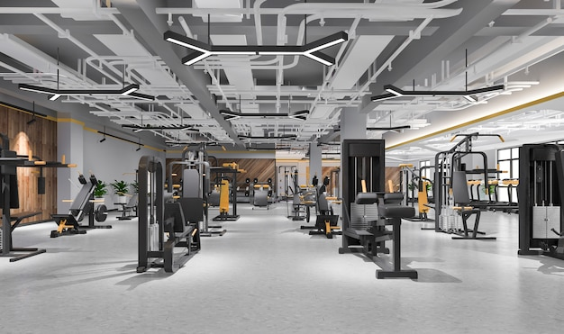 Salle De Sport Et Fitness Loft Moderne De Rendu 3d Photo Premium