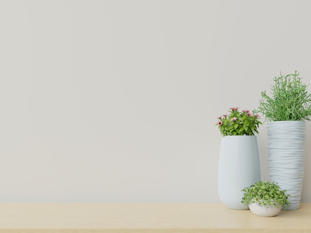 Salle vide avec des plantes ont un plancher en bois. Photo Premium