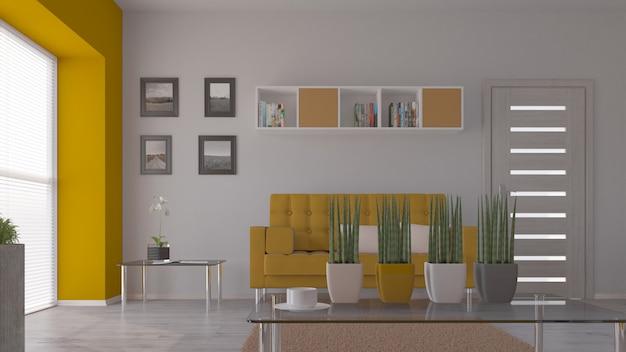 Salon 3d contemporain mobilier intérieur et moderne Photo gratuit