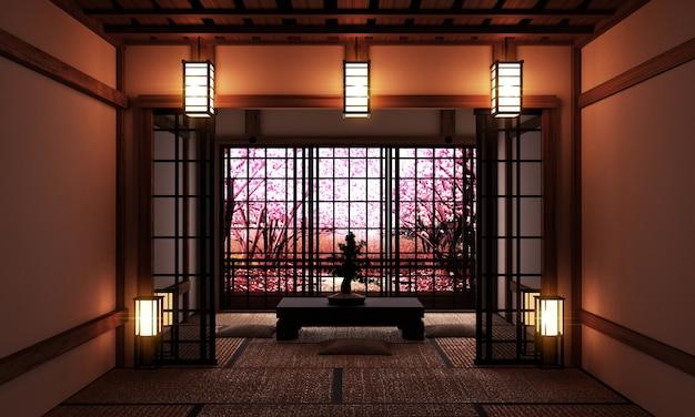 Salon avec bonsaï et table basse sur tatami et vue sur la sakura. Photo Premium