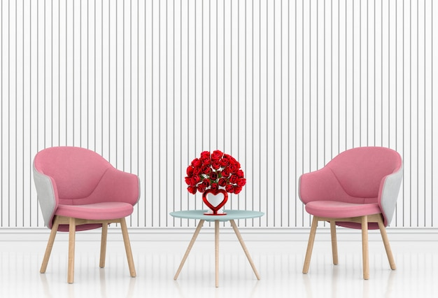 Salon et chaise design d'intérieur illustration 3d, salle de la saint-valentin Photo Premium