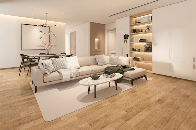 Salon Classique En Bois Rendu 3d Avec Carrelage En Marbre Et étagère Photo Premium