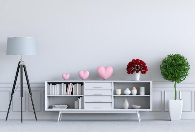 Salon et coeur rose Photo Premium