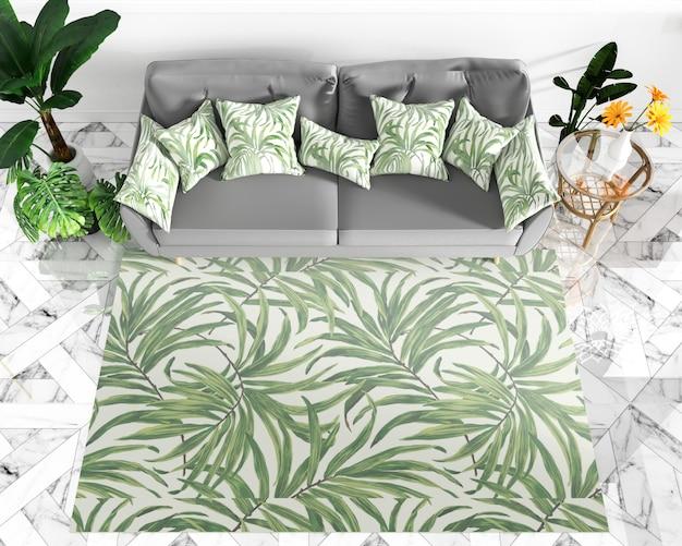 Salon design d'intérieur - style tropical. rendu 3d Photo Premium