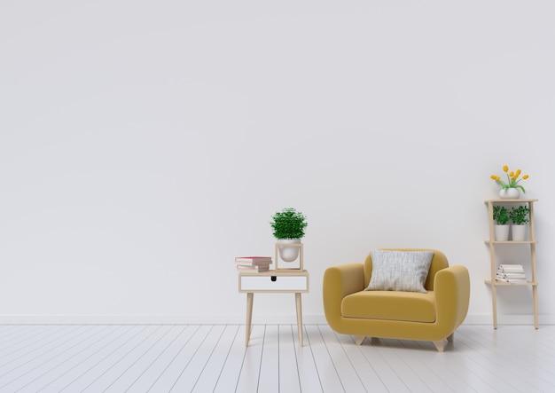 Salon avec fauteuil en tissu jaune, livre et plantes sur fond de mur blanc vide. Photo Premium