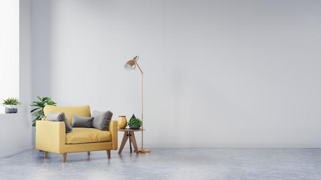 Salon avec fauteuil en tissu jaune, livre et plantes sur un mur blanc vide. Photo Premium