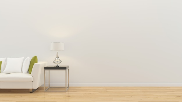 Salon intérieur 3d rendre canapé table lampe plancher en bois mur modèle Photo Premium