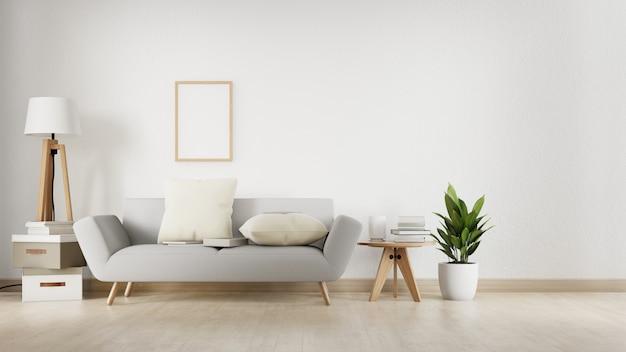 Salon Intérieur Avec Canapé Blanc. Rendu 3d. Photo Premium