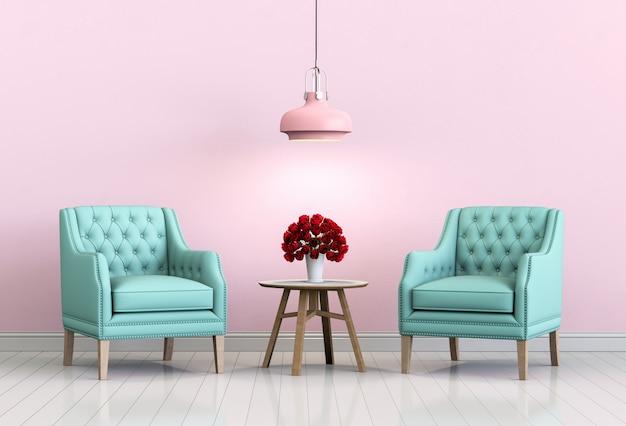 Salon intérieur salle rose avec fauteuil et rose. Photo Premium