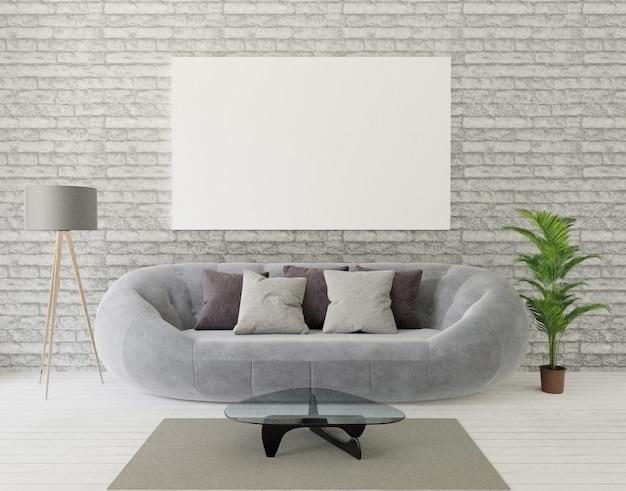 Salon loft avec canapé gris, lampe, arbre, mur de briques, tapis et cadre pour maquette Photo Premium