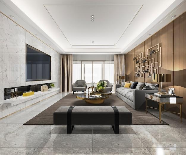 Salon de luxe loft rendu 3d avec étagère Photo Premium