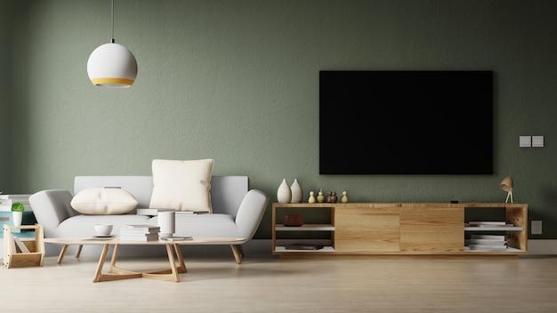 Salon moderne avec canapé blanc, meuble et étagères en bois ...