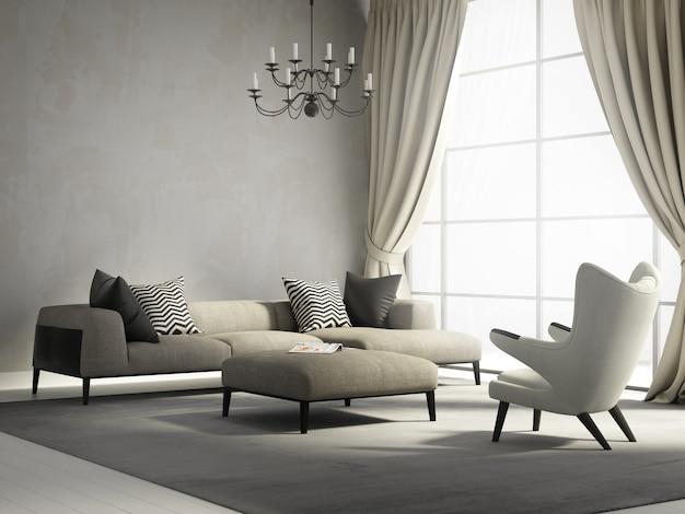 Salon moderne avec de grandes fenêtres Photo Premium