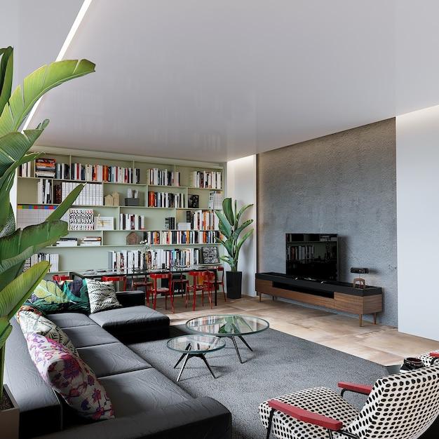 Salon Moderne Avec Meubles Et étagère, Rendu 3d Photo Premium