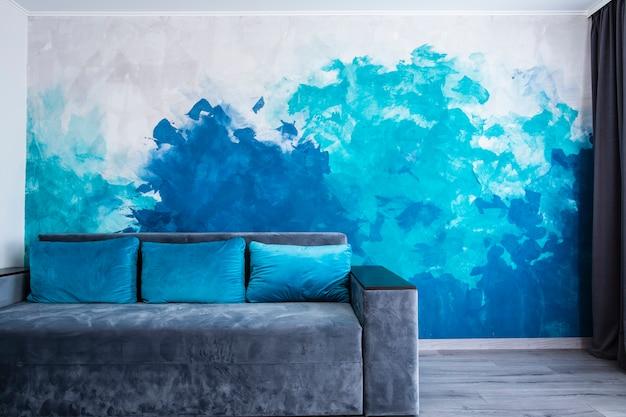 Salon Moderne Avec Mur Peint Photo Premium