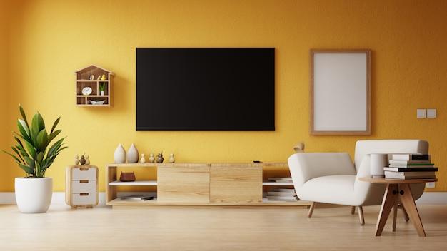 Salon moderne avec télévision vide et affiche Photo Premium