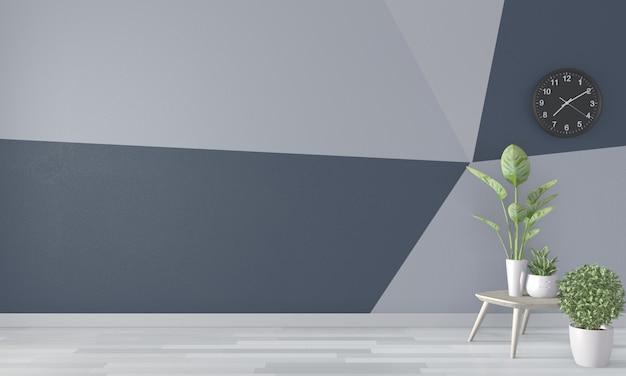Salon mur géométrique sur plancher en bois. rendu 3d Photo Premium