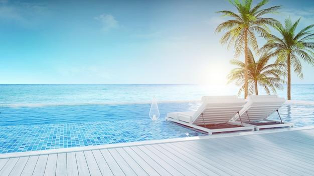 Salon de plage, chaises longues sur la terrasse pour bronzer et piscine privée avec vue panoramique sur la mer dans une villa de luxe / rendu 3d Photo Premium