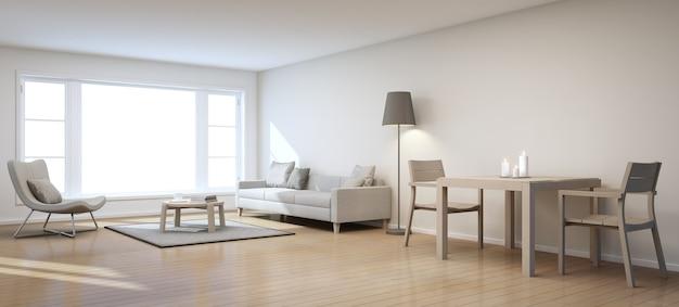 Salon et salle à manger dans la maison moderne - rendu 3d Photo Premium