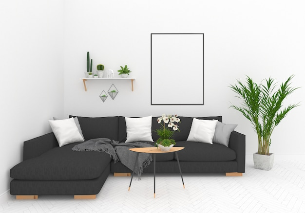 Salon scandinave avec cadre vertical Photo Premium