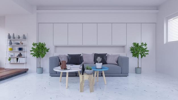 Salon vide avec canapé, lampe, armoire, plantes et mur blanc à l'arrière-plan, rendu 3d Photo Premium