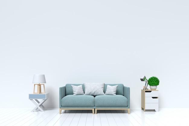 Salon vide avec mur blanc et canapé, lampe en arrière-plan Photo Premium