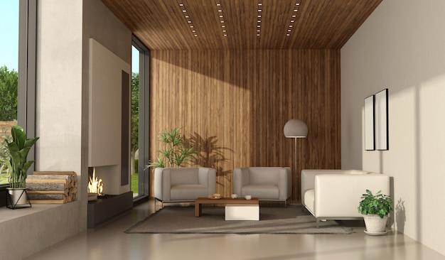 Salon D'une Villa Moderne Avec Cheminée Et Mobilier Blanc Photo Premium