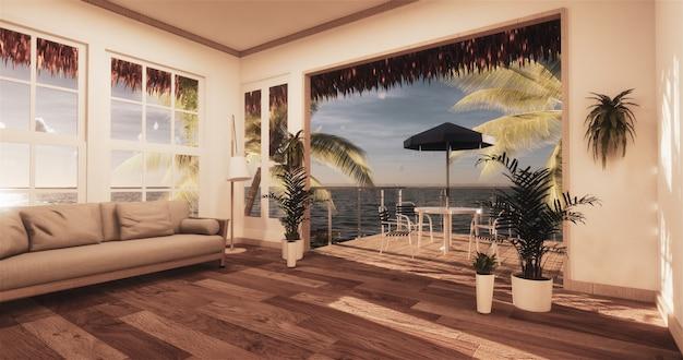 Salon vue mer dans maison de plage moderne Photo Premium