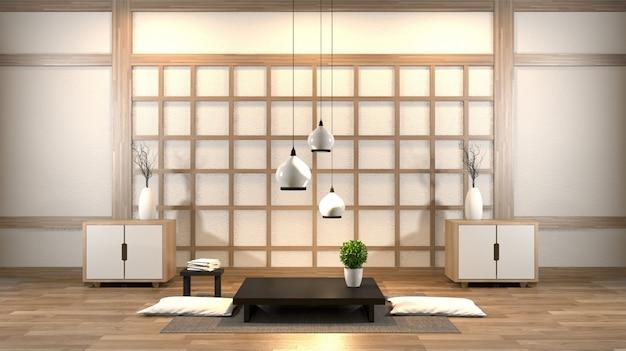 Salon zen design d'intérieur avec table basse, oreiller, structure, lampe sur plancher de bois Photo Premium