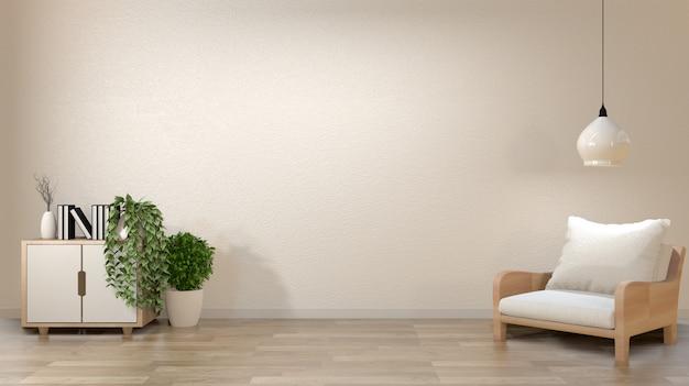 Salon zen fond de mur blanc vide avec style décoration japon. Photo Premium