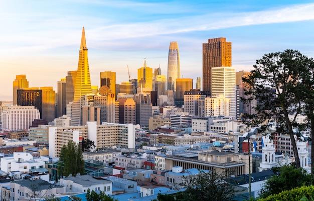 San Francisco Sunset Golden Hour Photo Premium