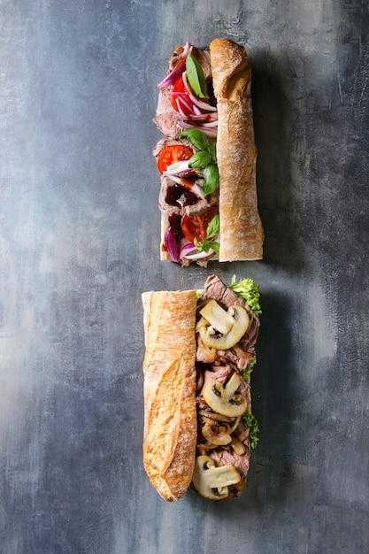 Sandwich à La Baguette De Boeuf Photo Premium