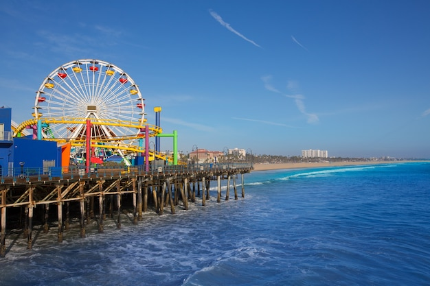 Santa Moica, Jetée, Grande Roue, En Californie Photo Premium