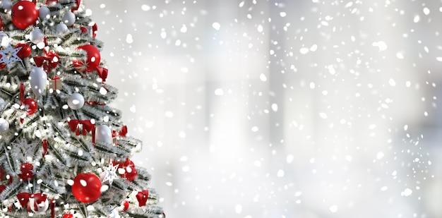 Sapin De Noël, Fond Blanc Et Neige Photo Premium