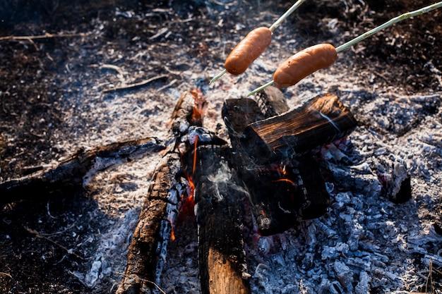 Saucisses Se Préparant à Manger Au-dessus Du Feu Photo gratuit