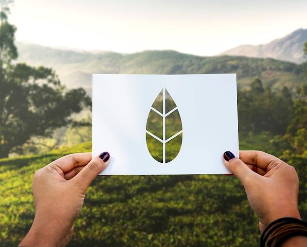 Save the world ecologie conservation de l'environnement feuille de papier perforée Photo gratuit