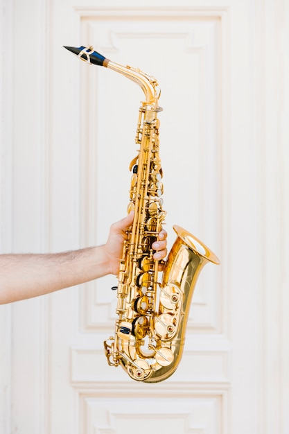 Saxophone doré tenu par personne Photo gratuit