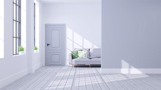 Scandinave moderne du concept d'intérieur de salon Photo Premium
