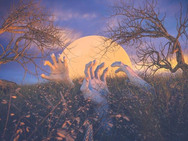Scène Abstraite D'halloween Avec Des Mains De Zombies Et Un Arbre Mort. Photo Premium